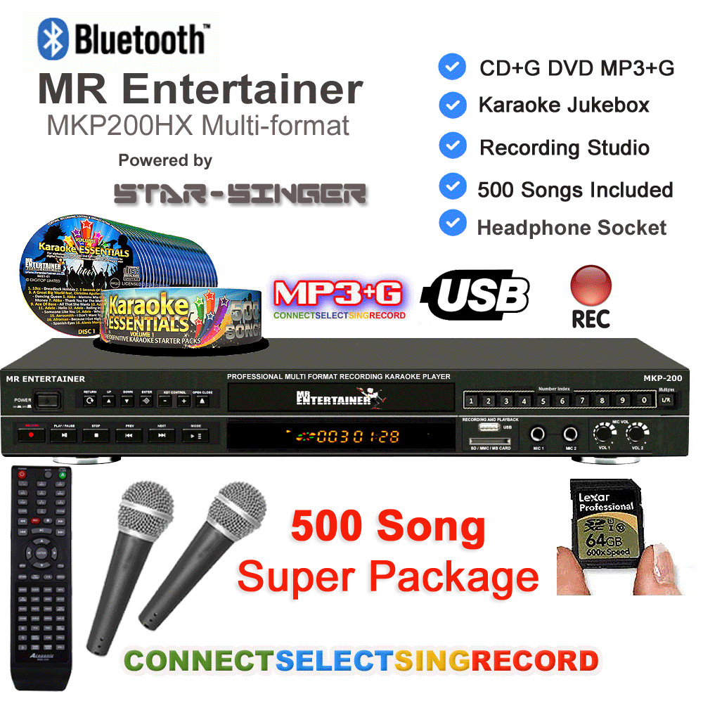 Entertainer MPK200 Karaoke Machine with Bluetooth 500 Song Package (Order  Code (Essential)