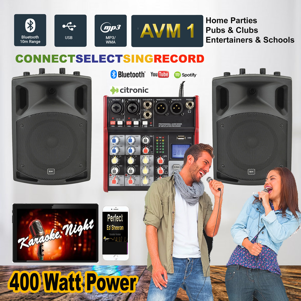 Complete Karaoke Audio/Vocal Music PA (Order Code AVM1) A powerful  alternative to traditional bluetooth speaker speakers  Full mixing ability  together
