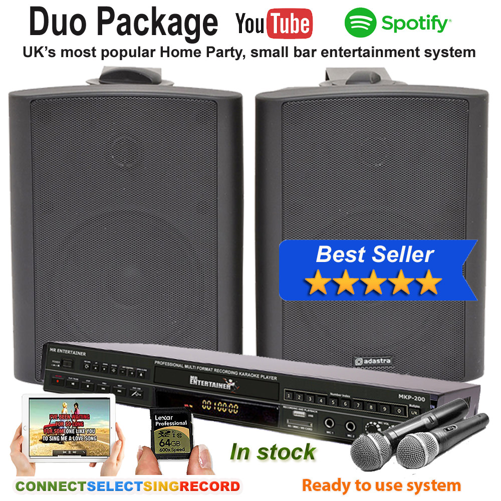 CD+G/DVD/MP3+G Jukebox Bluetooth Home, Small Bar Karaoke Machine Package  with Bluetooth 60 Watt Speakers (Order Code Duo II)
